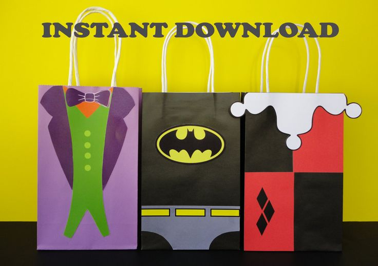 PRINTABLE:  Batman/ Joker/ Harley Quinn Birthday Party Favor/ Favors/ Treat/ Goodie/ Goody/ Candy Bags/ Bag/ DC Comics Villains/ Supplies by CreativePartyStudio on Etsy