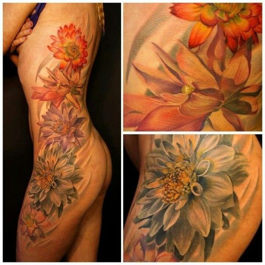 Andrey Barkov Grimmy - Flower Side Tattoo Holy shite, this is gorgeous... #tattoo #flowers #beautiful
