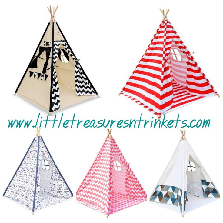 Looking for the perfect addition to your child's room for play and storage?  Checkout our 4 pole teepees available in 5 colours. #teepee #pretend #roleplay #storage #play #kids #onlineshopping #littletreasures  http://www.littletreasuresntrinkets.com/listing/kids-4-pole-teepee-tent/