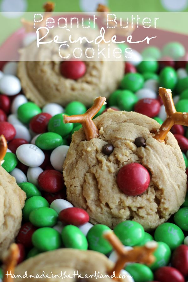 Peanut Butter Reindeer Cookies, This delicious recipe for Peanut Butter cookies is made even better by adding a few extra things to make it a reindeer! so cute and so fun for kids and adults alike! HandmadeintheHeartland.com
