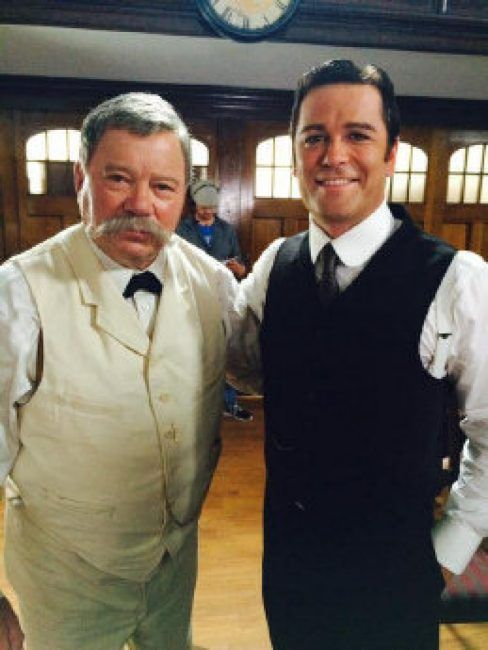 "William Shatner portrays Mark Twain in ""Marked Twain"" S9 EP2 of ""Murdoch Mysteries"". He's seen here with Yannick Bisson as Detective William Murdoch."