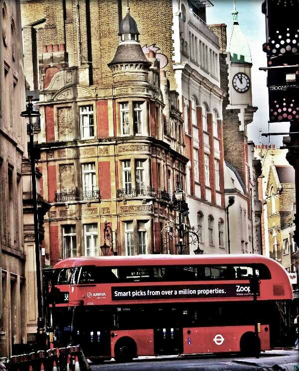 London - Street view with new Routemaster