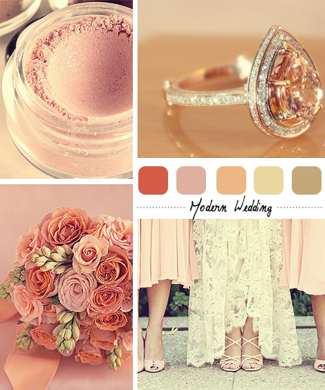 I love the way this inspiration palette was described: Going with a classic, girly, vintage type theme, the peachy pink Morganite center stone really inspired this color scheme.