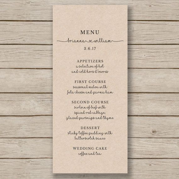 Rustic Wedding Menu Template - Printable Wedding Menu - Editable by YOU in WORD…