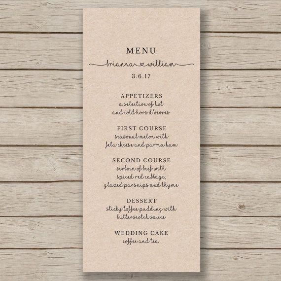 Rustic Wedding Menu Template - Printable Wedding Menu - Editable by YOU in WORD - print on Kraft card
