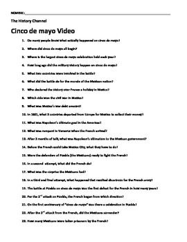 Before we celebrate cinco de mayo in my Spanish class, we watch this video to clarify that cinco de mayo is not Mexico's independence day. The video is in English. *Note: you are purchasing only the video worksheet I have created, not the video* This video worksheet has 40 questions that go with the History Chanel Presents Cinco de mayo video.
