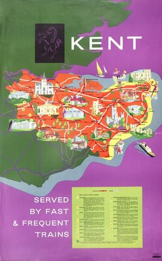 , Poster British Railways 'Kent' by Lander double royal 25in x 40in. Map image.17