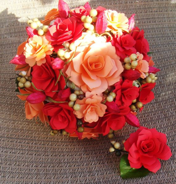 Wedding Bouquet  Paper Flowers Red and Peach READY TO SHIP  Rehearsal bouquet Toss Bouquet All Seasons   Welcome Custom Orders