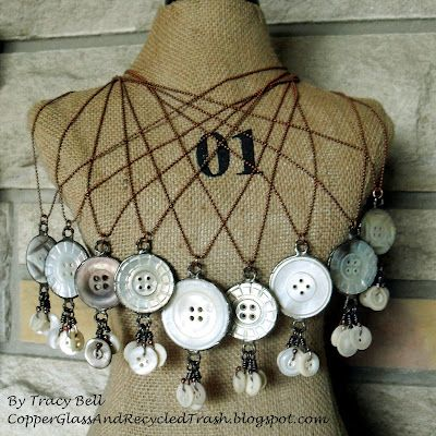 Vintage shell buttons - If I weren't hoarding mine, I'd totally make one of these necklaces.