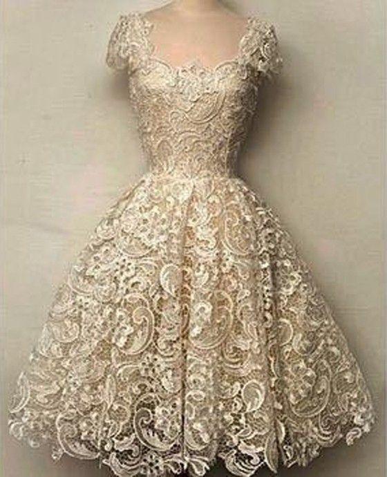 White Plain Lace Grenadine Hollow-out Short Sleeve Slim Dress - Midi Dresses - Dresses: