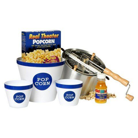 Wabash Valley Farms Real Theater Whirley Pop Stovetop Popcorn Popper Party Pack  Silver ** You can get additional details at the image link. (This is an affiliate link)