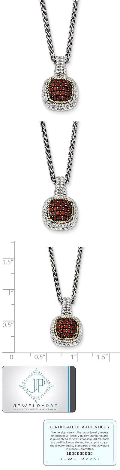 Gemstone 164332: Sterling Silver W 14K Gold 18In And Black Rhodium Garnet Necklace -> BUY IT NOW ONLY: $87.99 on eBay!