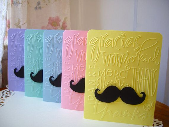 baby shower thank you cards mustache card set by JDooreCreations, $5.50