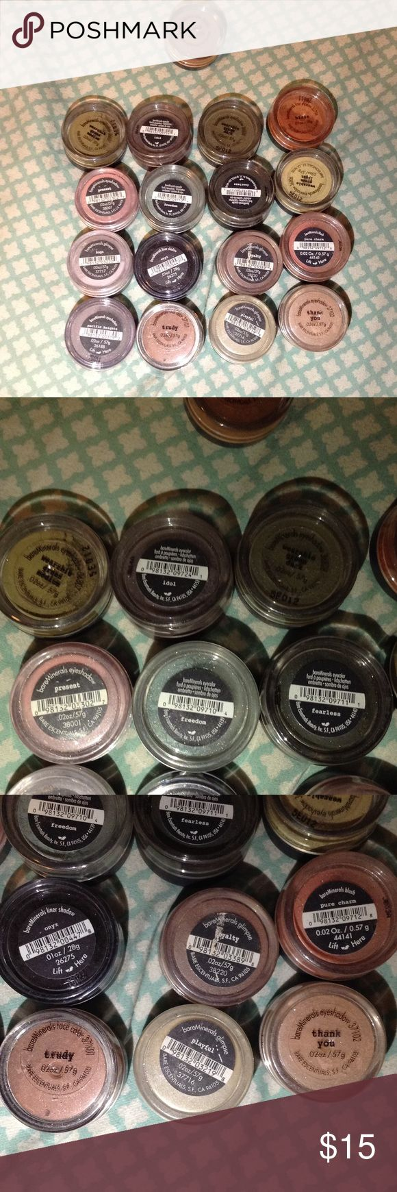 BARE MINERALS EYESHADOW BUNDLE Includes 16 eye shadows plus 1 warmth for the face. If they have been used it is very little! Feel free to make me an offer bareMinerals Makeup Eyeshadow