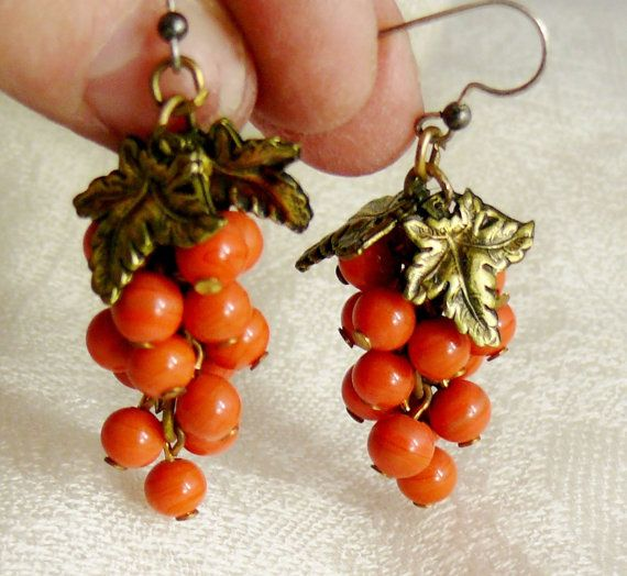 Vintage Deco Coral Grape Fall Thanksgiving Earrings by WillowBloom, $38.00