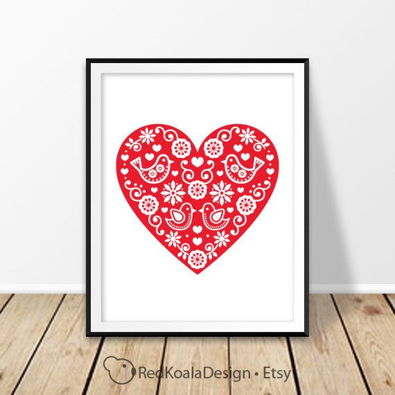 Retro print, Folk art heart, Rustic home decor, Floral pattern birds, Nursery wall art, Home decor, For her, Digital Download,Love printable by RedKoalaDesign on Etsy