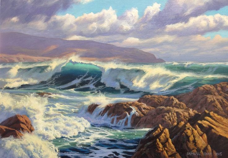 This painting is based on the wild sea in the south coast of Wellington, New Zealand. Pencarrow Head can be seen in the background