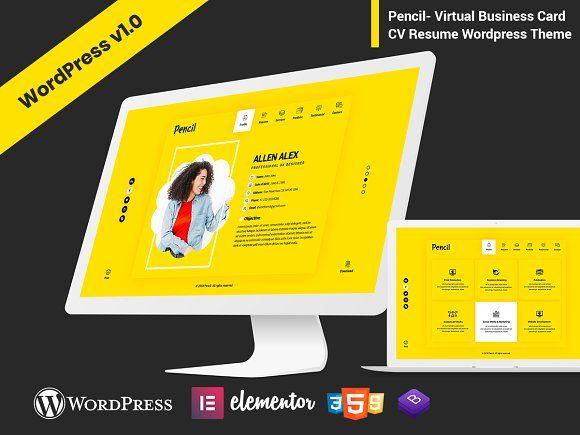 Pencil Cv Resume Wordpress Theme In 2020 Wordpress Theme