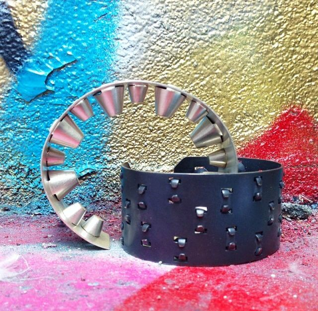 Inverted Stud cuffs by Emma Jane Donald (Sterling silver & oxidised silver)