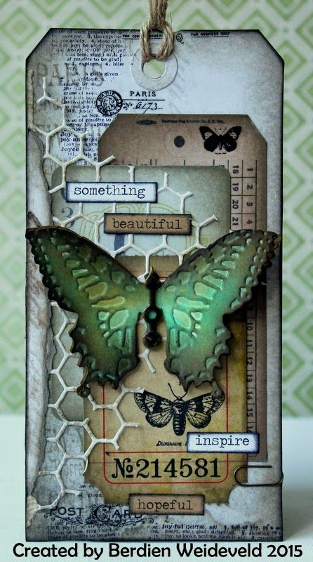 Scrap from Bemmel: Another butterfly! using Tim Holtz, Ranger, Idea-Ology, Sizzix and Stamper's Anonymous products; Feb 2015