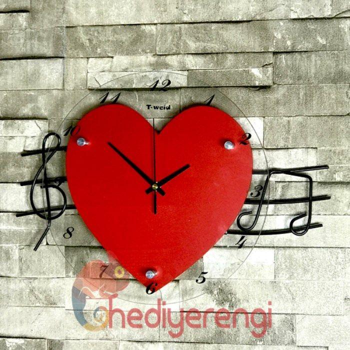 Kalp Şeklinde Metal Tasarımlı Duvar Saati - Hediye Rengi