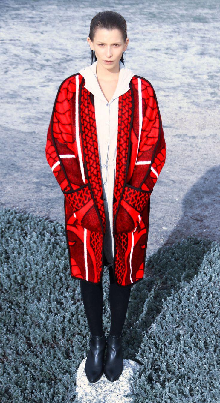 Fire red WEISS CapeTown blanket coat www.weissdesignstudio.co.za