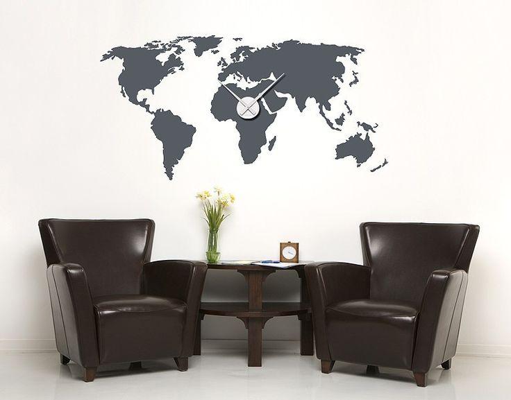 Einmal um die Welt! #Wandtattoo #Uhr #Wanddeko #Weltkarte