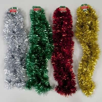 Solid Color Tinsel Garland 9 Feet - 48 Units