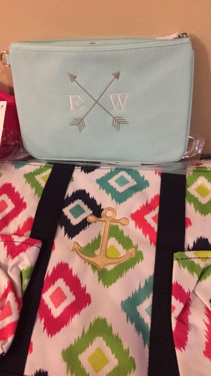 Thirty-One Mini Rubie in Skies for You! Zip Top Organizing Utility Tote with Sunset Gold anchor!