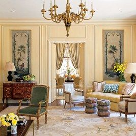 In a 1920s San Francisco–area home built by Arthur Brown Jr. and updated by Douglas Durkin Design, 18th-century singerie panels are hung in the picture frame moldings that flank the doors to the dining room.