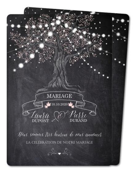Faire part mariage Arbre lumineux (PRV-354-RC1)