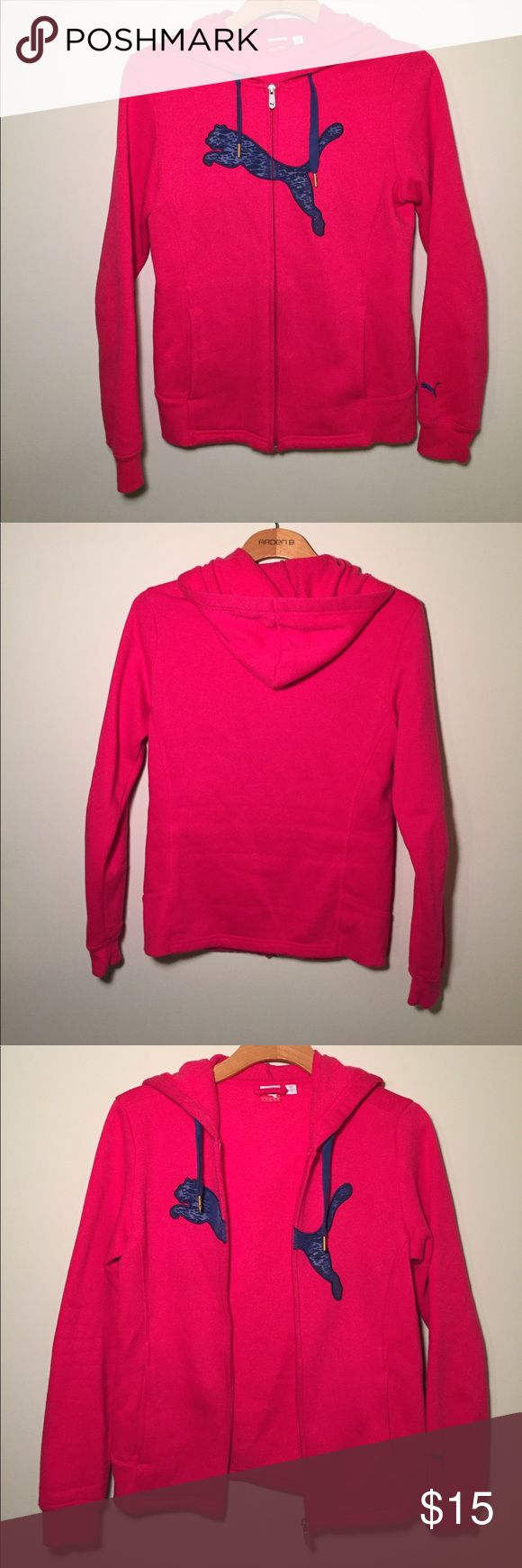 Puma zip-up hoodie size small Pink zip up hoodie. Hoodie has been barely used and is in excellent condition. It's 22 1/2 inches long and sleeves are 24 inches long. Puma Tops Sweatshirts & Hoodies