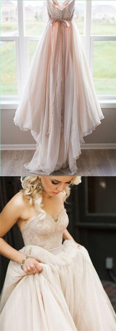 2017 Wedding Dresses Sweetheart Champagne Bowknot Tulle with Lace JKW004 #laceweddingdresses #WeddingDresses