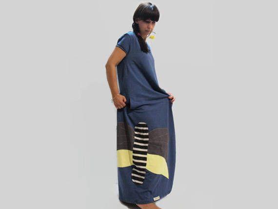 Blue butterfly women dress /organic cotton summer dress /blue loose dress /women short sleeves dress /handmade dress / blue women long dress by PepperFashion on Etsy