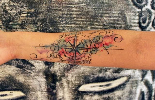 Watercolor Compass Tattoo done by Eleni at Metamorphosis Her instagram: leni_xoxo - Imgur