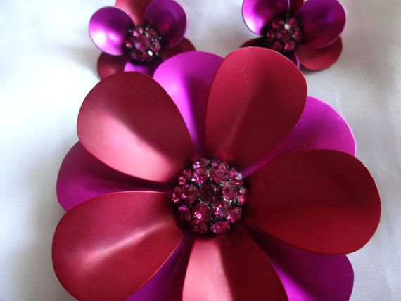 Vibrant Metallic  Flower Rhinestone Brooch and by JewelryMenagerie