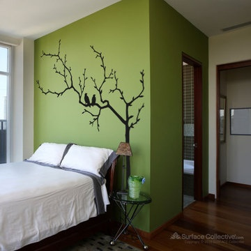 Simple wall mural instead of headboard casa - What to use instead of a headboard ...