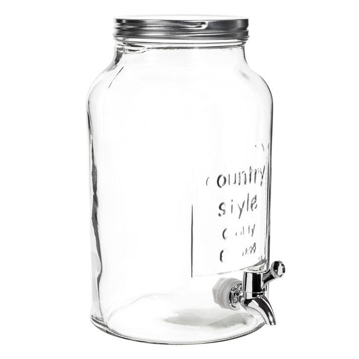 Pour le punch ! Bonbonne avec robinet en verre H 30 cm
