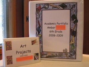 How to make a homeschool portfolio- I love the pictures of the art projects put into a small photo album and tucked inside the portfolio.  Such a great idea!!