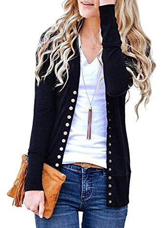 Beautiful Rainlover Women s V-Neck Button Down Knitwear Long Sleeve Soft  Basic Knit Snap Cardigan Sweater online.   17.99  findanew from top store b00929515