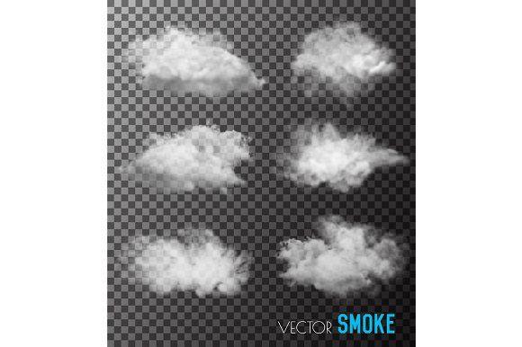 Transparent set of smoke vectors by ecco on @creativemarket