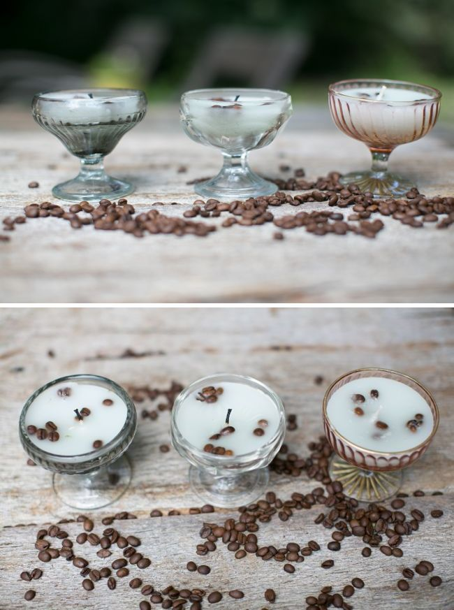 French Vanilla DIY Candles | Henry Happened - pour in little wax, drop in a layer of coffee beans and chopped vanilla bean, then fill rest of way with wax. Can't wait to smell this!