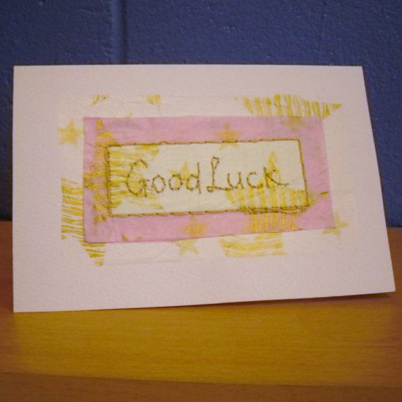 Good Luck  Card Hand stitched Card by KezylouToo on Etsy