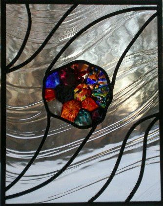 Hand Made Modern Stained Glass Window by Glass Fusion Studios of Vermont