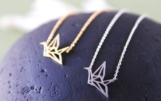 """Origami Bird Charm Necklace.SYMBOLIZE: Hope, Healing and Luck. """" I will write peace on your wings and you will fly all over the world"""" - Sadako Sasaki"""