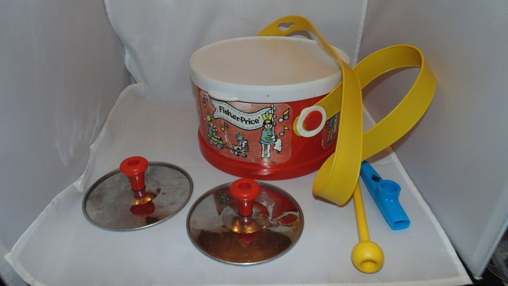 Vintage 1979 FISHER PRICE Marching Band Toy Drum Set #921 Cymbals kazoo by AltmodischVintage on Etsy