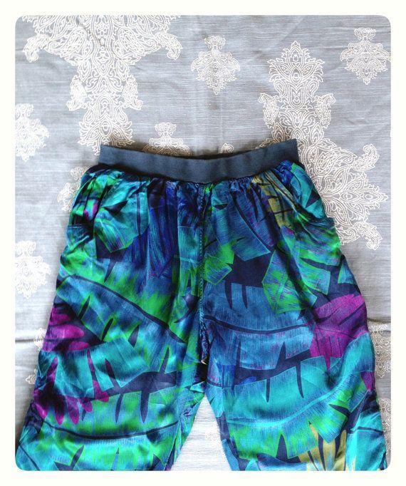 1980s LIz Claiborne Tropical Print Harem Pants