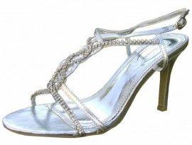 Diamante Silver Evening Sandals. Silver evening shoes