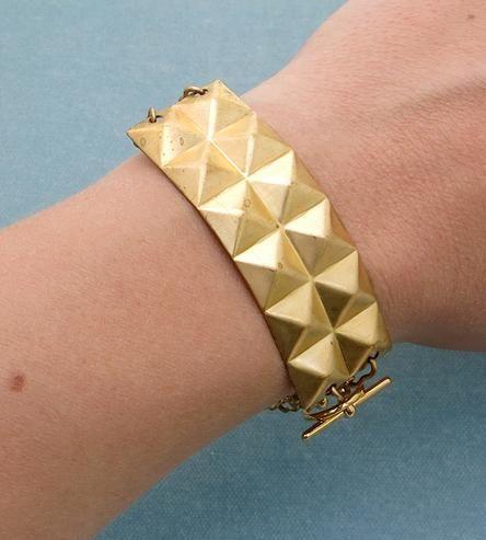 Brass Pyramid Stud Cuff Bracelet by Found & Salvaged on Scoutmob Shoppe