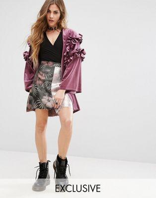 Жаккардовая юбка мини цвета металлик с цветочным рисунком Reclaimed Vintage Inspired
